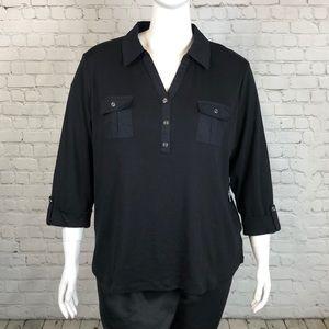 Karen Scott Black 3/4 Sleeve Top Plus Size 3X